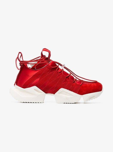 Unravel Project Red silk and suede chunky sneakers