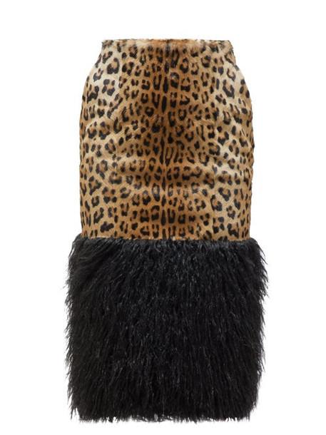Saint Laurent - High Rise Faux Shearling & Ponyhair Pencil Skirt - Womens - Leopard