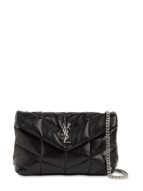 SAINT LAURENT Mini Puffer Loulou Leather Bag in black