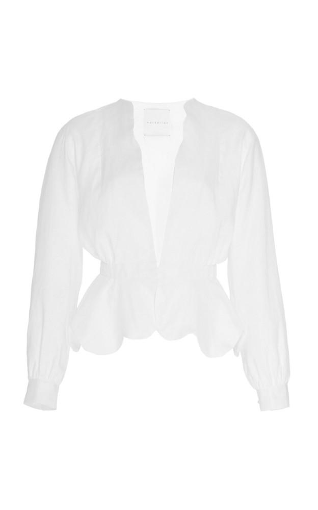 Markarian Portia Linen Peplum Jacket Size: 0 in white