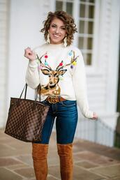 something delightful,blogger,sweater,jeans,shoes,belt,jewels,winter outfits,winter sweater,louis vuitton bag,gucci bag
