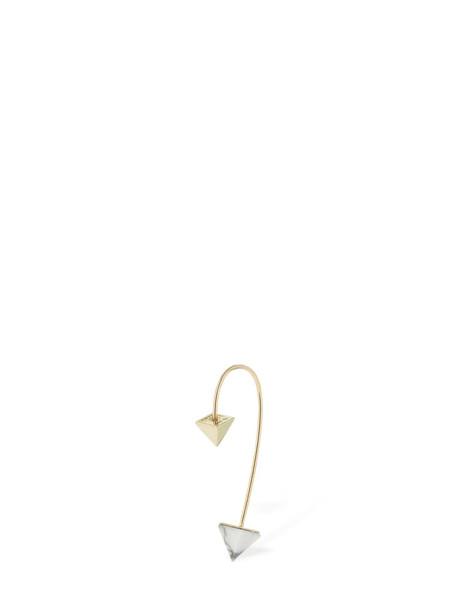 PERUFFO Curve Mini Howlite Mono Earring in gold