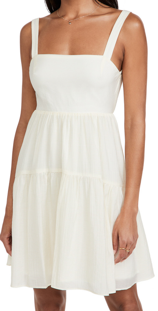 WAYF Tie Back Tiered Mini Dress in cream