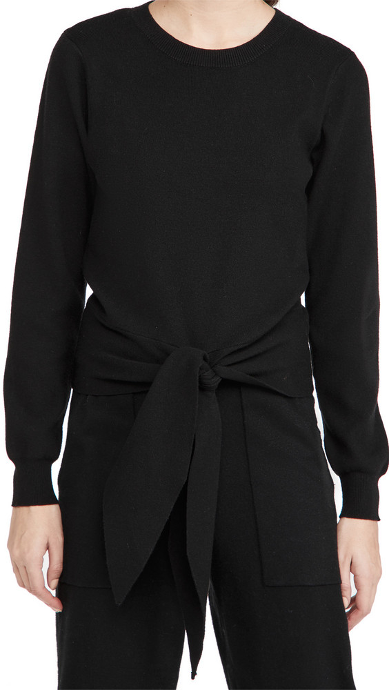 WAYF Milo Knot Front Sweater in black