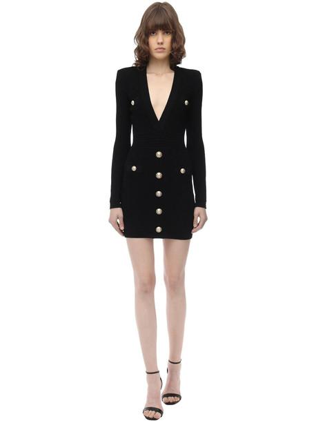 BALMAIN Fitted Viscose Blend Knit Mini Dress in black