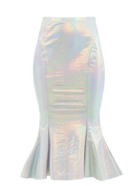 Norma Kamali - Iridescent Fishtail-hem Jersey Skirt - Womens - Silver