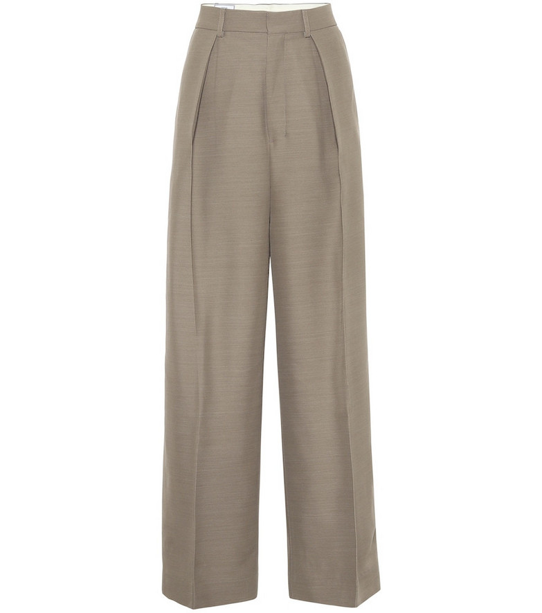 AMI High-rise wide-leg pants in beige