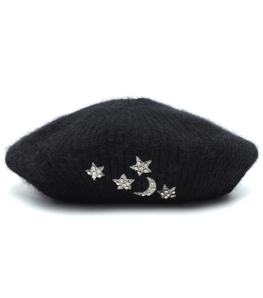 Jennifer Behr Exclusive to Mytheresa – Embellished mohair beret in black