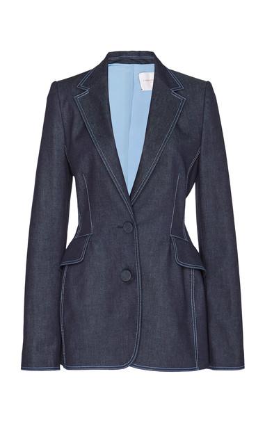 Carolina Herrera Contrast Stitch Stretch-Denim Blazer Size: 0 in blue