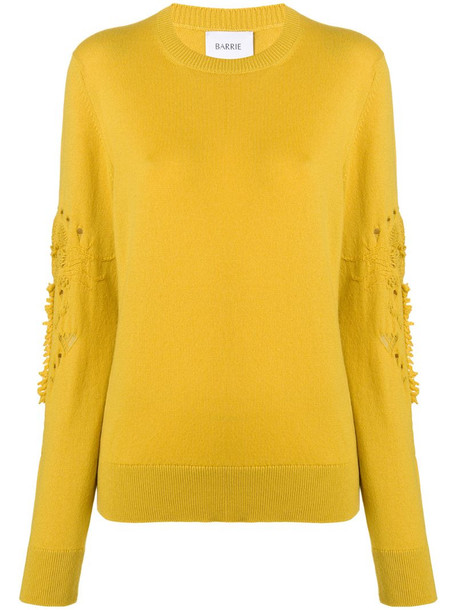 Barrie Romantic Timeless cashmere round neck pullover in yellow