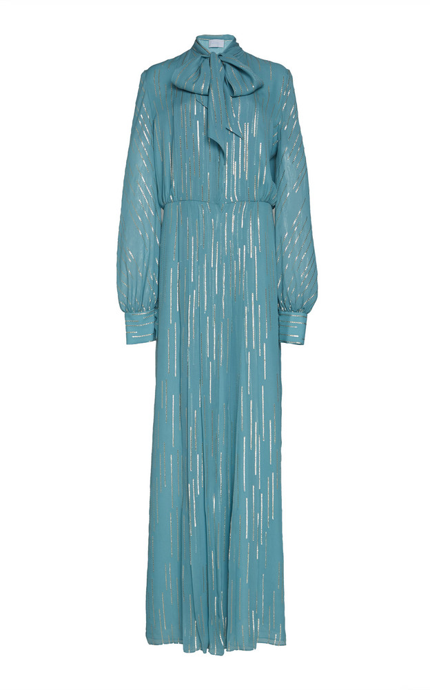 Luisa Beccaria Silk-Blend Chiffon Pussy Bow Dress in blue