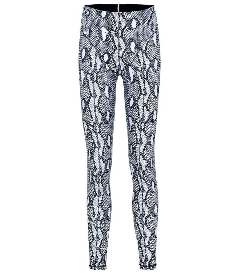 Adam Selman Sport Plunge snake-print leggings in grey