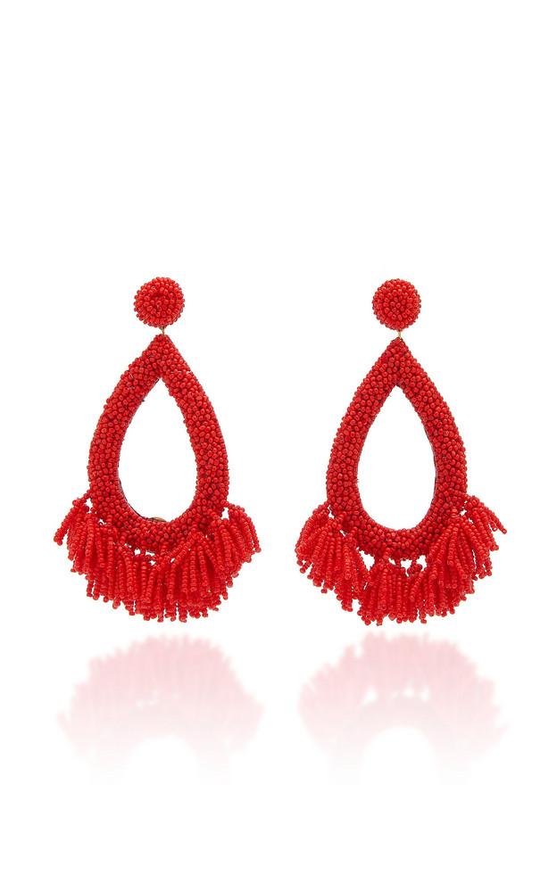 Deepa Gurnani Rafela Beaded Drop Earrings in red