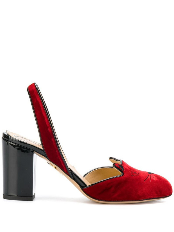 Charlotte Olympia Kitty slingback heels in red