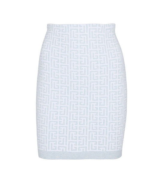 Balmain Stretch-knit miniskirt in blue