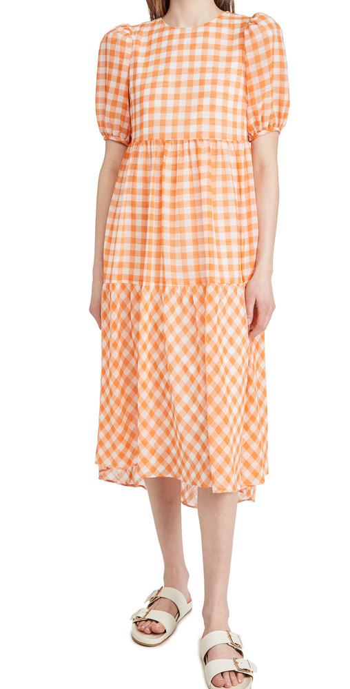 ENGLISH FACTORY Gingham Print Midi Dress in orange