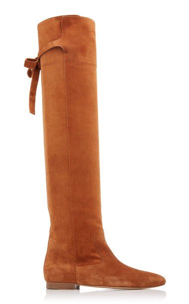 Gabriela Hearst Porto Suede Knee-High Boots in brown
