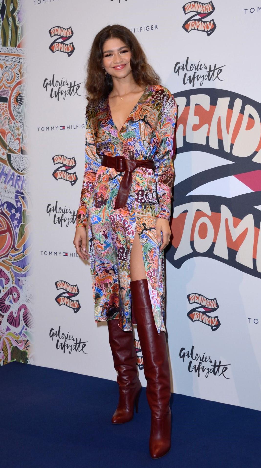 dress print printed dress midi dress boots zendaya celebrity
