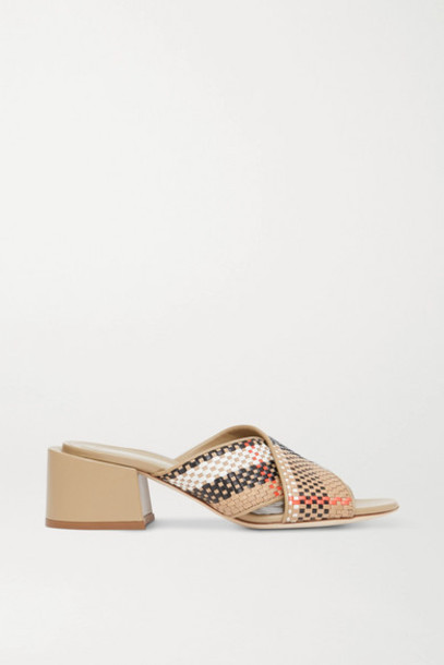 Burberry - Woven Leather Mules - Beige