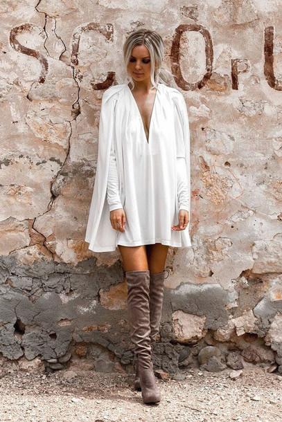 dress cape dress pleated sleeve dress pleated mini dres boho dress white boho dress white dress white long sleeve dress long sleeve dress plunge dress plunge v neck