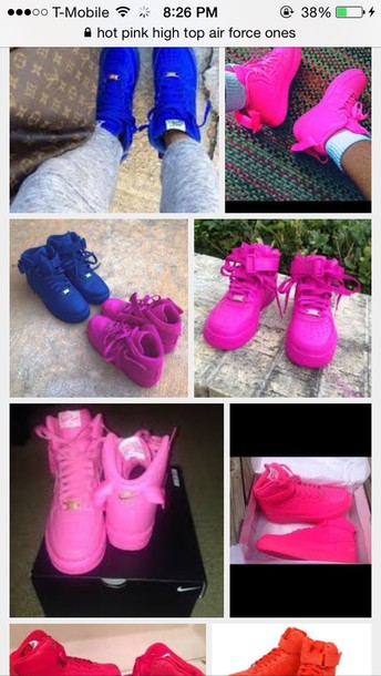 rima compañero rueda  hot pink shoes, nike air force 1, one color, high top sneakers, anycolor,  shoes - Wheretoget