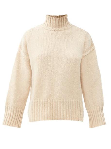 Frame - Split-hem Brushed Wool-blend Sweater - Womens - Beige