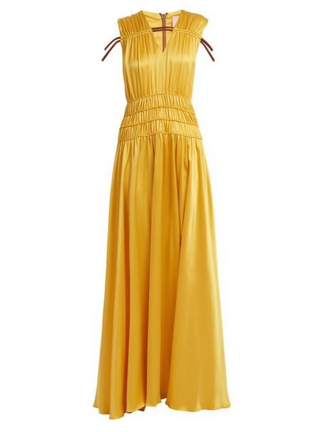 Roksanda - Brona Gathered Rope Detail Silk Satin Gown - Womens - Yellow