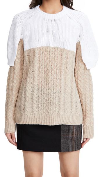 Tibi Shrunken Top Layered Pullover in white / multi