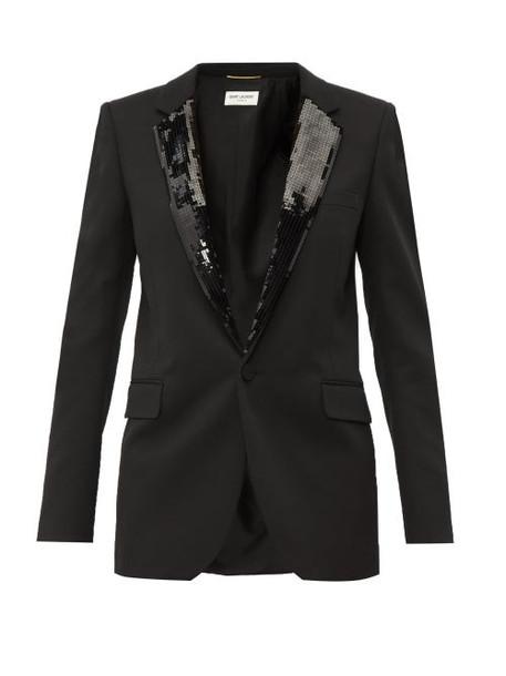 Saint Laurent - Sequin Embellished Wool Blazer - Womens - Black