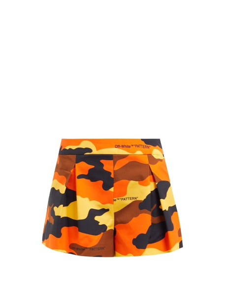 shorts pleated camouflage cotton print brown
