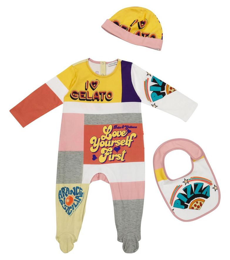 Dolce & Gabbana Kids Baby cotton onesie, bib and hat set