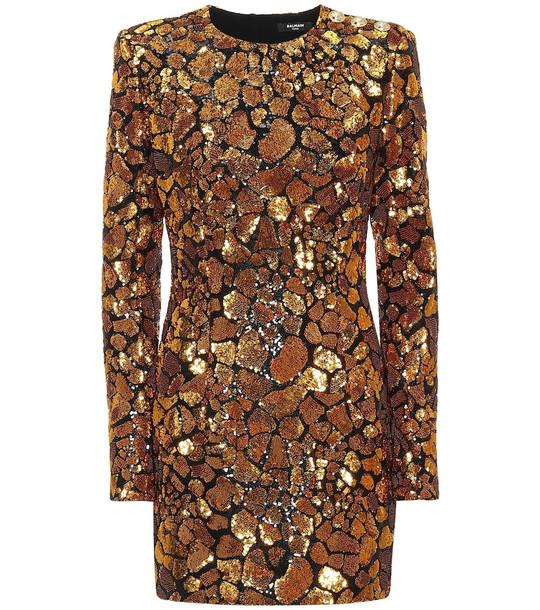 Balmain Sequined minidress in gold