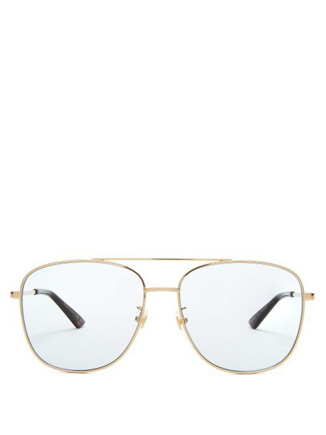 Gucci - Aviator Square Frame Metal Sunglasses - Womens - Light Blue