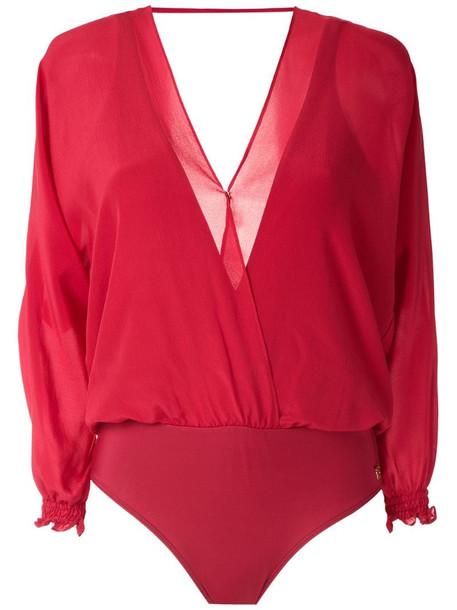 Brigitte silk bodysuit in red