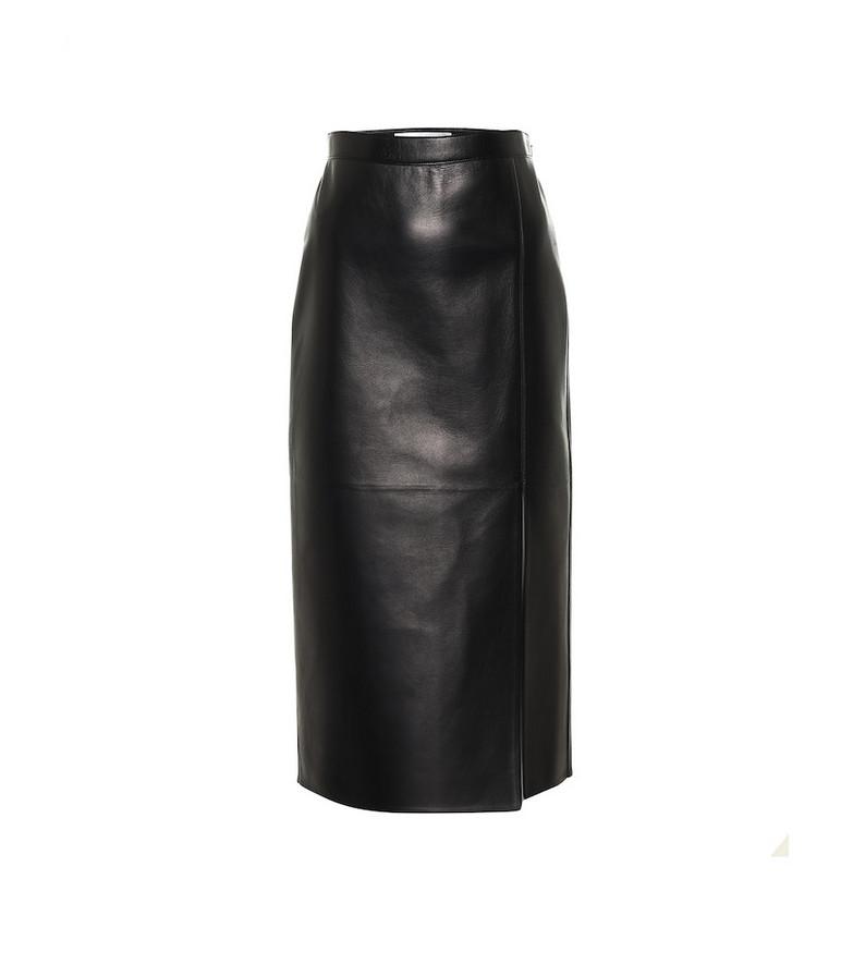 Valentino High-rise leather midi skirt in black