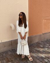dress,white dress,zara,midi dress,flat sandals,bag