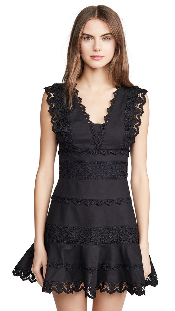 endless rose Plunging Neck Lace Trim Dress in black