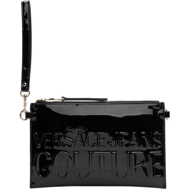 Versace Jeans Couture Black Faux-Leather Zip Pouch