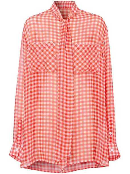 Burberry gingham pussy-bow blouse in red