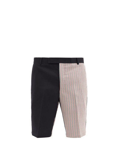 Thom Browne - Tricolour Striped-panel Wool-blend Shorts - Mens - Navy