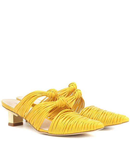 Cult Gaia Paige leather mules in yellow