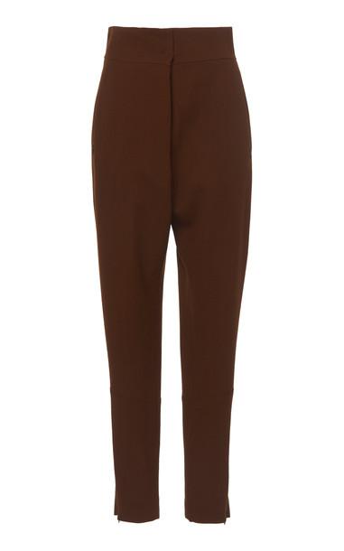 Akris Finny Tapered Wool Crepe Pants Size: 2 in brown