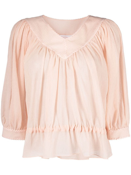 See by Chloé peplum hem gathered blouse in neutrals