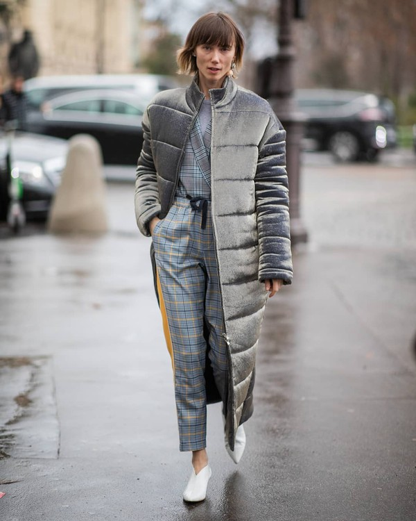 pants plaid blazer white boots ankle boots puffer jacket grey jacket sweater streetwear streetstyle casual