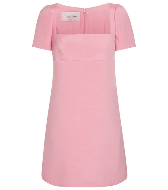 Valentino Wool and silk-blend minidress in pink