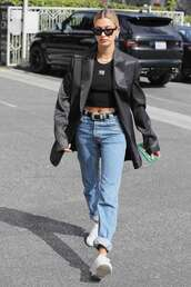 top,oversized jacket,hailey baldwin,model off-duty,jeans,denim,crop tops,cropped,spring outfits,black top