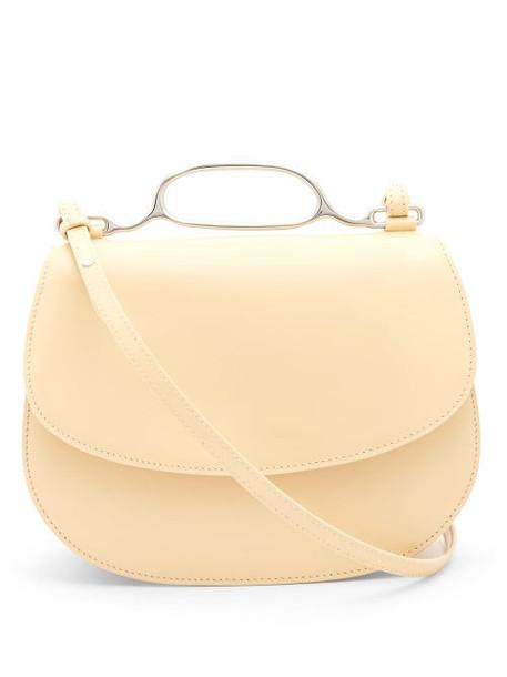 Jil Sander - Metal-handle Small Leather Cross-body Bag - Womens - Light Yellow