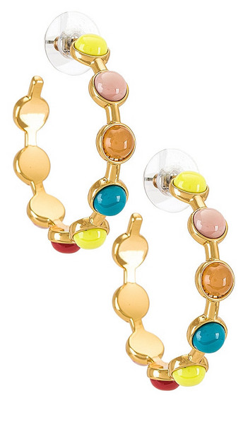 Lele Sadoughi Cabochon Hoop Earrings in yellow