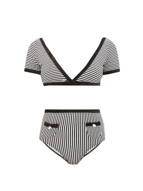 Leslie Amon - Marylou Glitter-trim Striped Bikini - Womens - Black Stripe