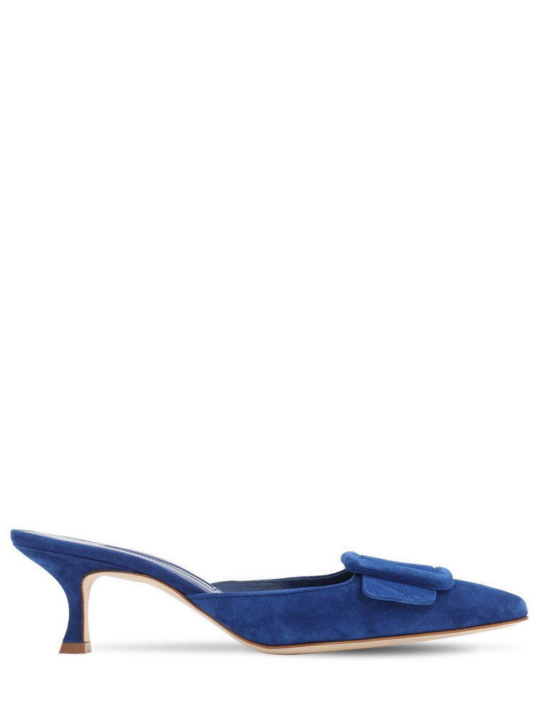 MANOLO BLAHNIK 50mm Maysale Suede Mules in blue